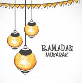 picture of ramazan mubarak  - Illuminated hanging lanterns on grey background for Islamic holy month of prayers - JPG