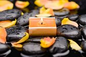 picture of stone-therapy  - Orange rose petals with candle and therapy stones  - JPG