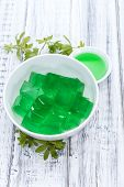 foto of jello  - Portion of homemade Woodruff Jello (on a bright background) ** Note: Shallow depth of field - JPG