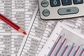 stock photo of depreciation  - a calculator is located on the numbers a balance us statistics - JPG