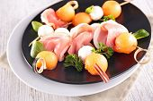 pic of buffet  - buffet food with melon - JPG