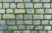 stock photo of cobblestone  - Old cobblestone background with grass - JPG