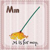 image of letter m  - English flashcard letter M is for mop - JPG