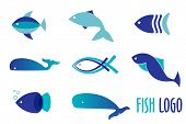 stock photo of fish  - Vector illustration of blue colors fishes - JPG