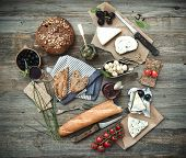 foto of wooden table  - French food on a wooden background - JPG