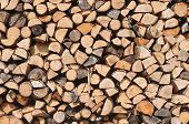 foto of firewood  - Background of dry chopped firewood stacked up in a pile - JPG