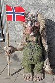 picture of troll  - Troll with big nose and the Norwegian flag - JPG