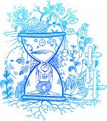 picture of trap  - Man trapped in an hourglass - JPG