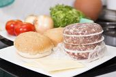 picture of hamburger-steak  - Ingredients for Hamburger before cooking  - JPG