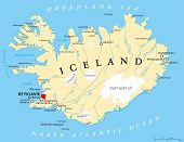pic of political map  - Iceland Political Map with capital Reykjavik - JPG