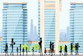 pic of city silhouette  - People Silhouettes Crowd on City Street Modern Office Buildings - JPG