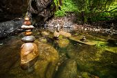 image of rainforest  - Amazing tropical rainforest landscape with lake and balancing rocks tower for zen meditation practice. Nature background.