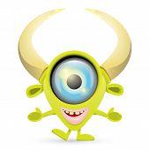 image of centaur  - Green Cartoon cute monster isolated on white - JPG