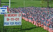 stock photo of extremist  - flags represent the lives lost in the september 11th attack - JPG