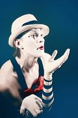 stock photo of mime  - theater actor in makeup funny mime closeup - JPG