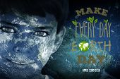 stock photo of earth  - Earth Day Graphic against earth overlay on face - JPG