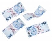 picture of turkish lira  - Flying 100 Turkish Liras on white background - JPG