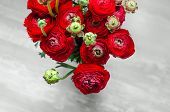 foto of buttercup  - Colorful romantic bouquet of flowers ranunculus buttercup macro spring on card - JPG