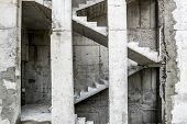 picture of concrete  - View of the Concrete stairs and concrete blocks in an unfinished House - JPG