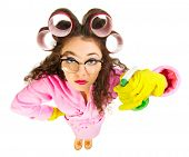 stock photo of nerd  - Funny housewife with nerd glasses isolated - JPG