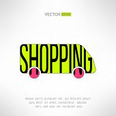 image of mall  - Vector shopping bus symbol - JPG