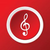 foto of g clef  - Round white icon with image of treble clef - JPG