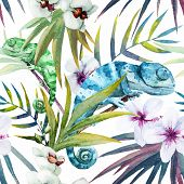 pic of chameleon  - Beutiful watercolor vector pattern with reptiles chameleon - JPG