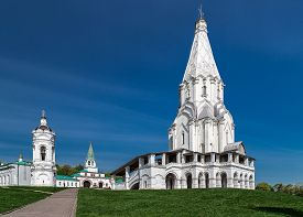 stock photo of ascension  - Church of the Ascension and a standalone belltower in Kolomenskoye park (former royal estate) Moscow Russia. UNESCO World Heritage Site. ** Note: Visible grain at 100%, best at smaller sizes - JPG