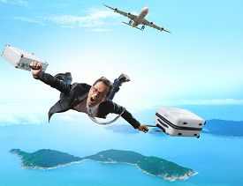 image of crazy face  - crazy business man flying from passenger plane with briefcase and luggage with glad and happiness emotion use for people vacation holiday traveling to destination island - JPG
