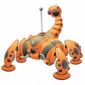 Постер, плакат: Orange Internet Web Crawler Robot Concept