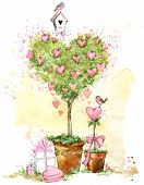 Постер, плакат: Valentines day card Valentines love Tree