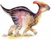 Dinosaur. Dinosaur Watercolor drawing. Dinosaur illustration. Cartoon dinosaur. poster