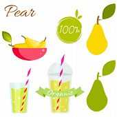 Постер, плакат: Pear Fruit And Juice Vector Set