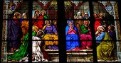 stock photo of pentecostal  - Stained Glass Church Window Depicting Pentecost In The Dom Of Cologne - JPG