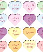 Candy Hearts In Rows