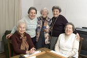 foto of senior-citizen  - group of happy senior women playing mah - JPG