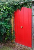 Red Fence Door