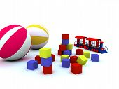 picture of bounce house  - blocks balls and locomotive are child - JPG