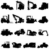 picture of dumper  - set of construction machines illustration design  vector - JPG