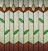 image of stained glass  - Background glass with green leaves and stylized flowers - JPG