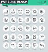 Постер, плакат: Thin line icons set of hotel services and facilities
