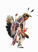 stock photo of american indian  - digital painting of a native american indian dancer in full regalia - JPG