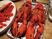 Two 3 Pound Lobsters Set Out For Cooking poster