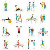 Physiotherapy Rehabilitation Color Icons poster