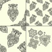 Постер, плакат: Vector illustration of ornamental owl Bird illustrated in tribal Set of ornamental owls with flowe