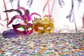 Carnival Party Props on blur background with Brazilian Carnival text poster