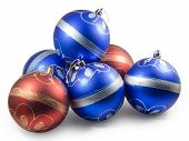 Six Christmas Balls, Red And Blue