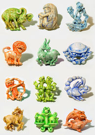foto of zodiac sign  - all horoscope signs sculpted in cartoon style - JPG