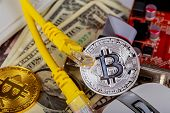 Coin Bitcoin Dollars Graphic Card Internet Wire poster