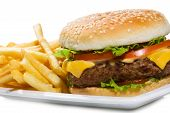 stock photo of hamburger  - hamburger with fries on the white background - JPG